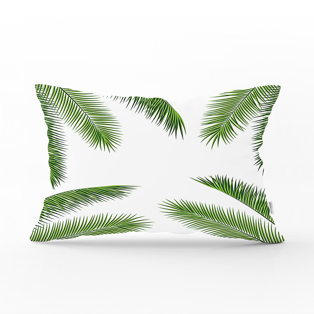 Beyaz Zemin Üzerinde Yeşil İnce Yaprak Desenli Modern Dikdörtgen Yastık Kırlent Kılıfı Realhomes