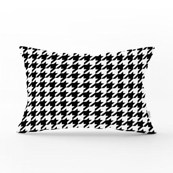 Beyaz Zeminli Siyah Ekose Desenli Dijital Baskılı Modern Dikdörtgen Yastık Kırlent Kılıfı Realhomes
