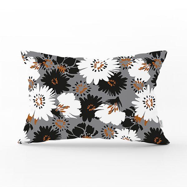 Renkli Zemin Üzerinde Siyah Beyaz Çiçek Desenli Modern Dikdörtgen Yastık Kırlent Kılıfı Realhomes