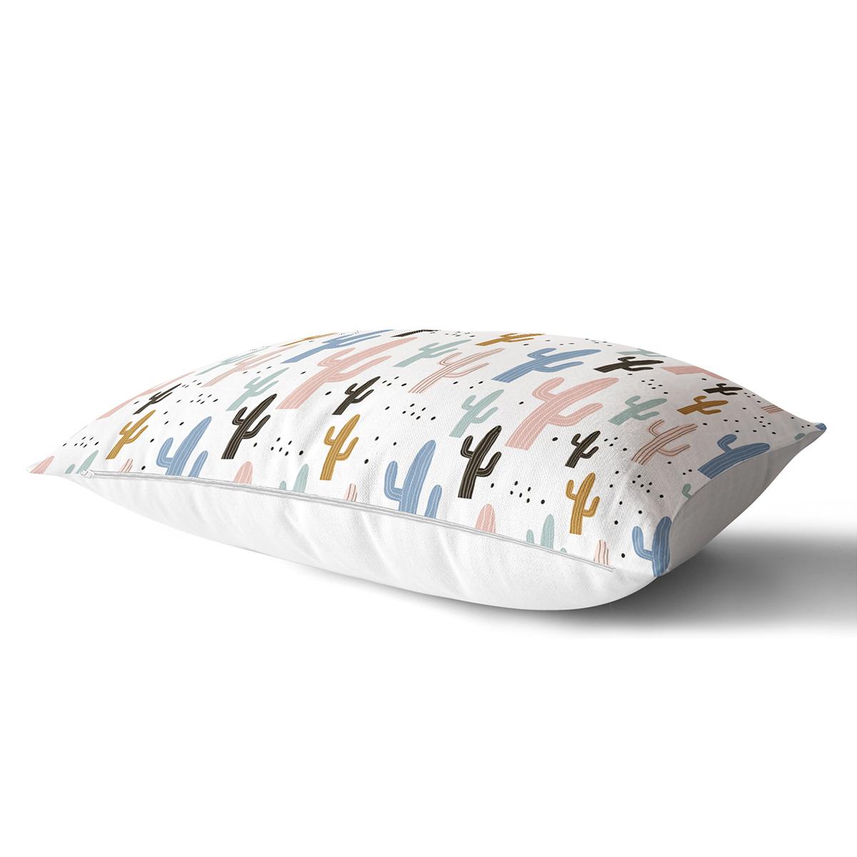 Beyaz Zeminli Renkli Kaktüs Desenli Dijital Baskılı Modern Dikdörtgen Yastık Kırlent Kılıfı Realhomes