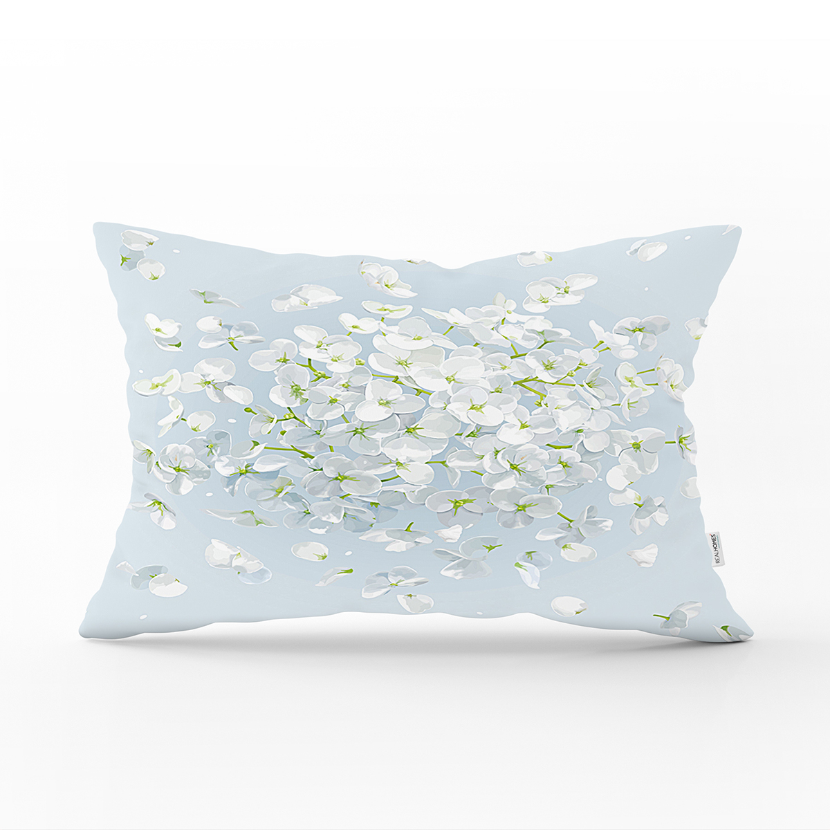 Renkli Zeminli Beyaz Ortanca Çiçek Desenli Dijital Baskılı Modern Dikdörtgen Kırlent Kılıfı Realhomes
