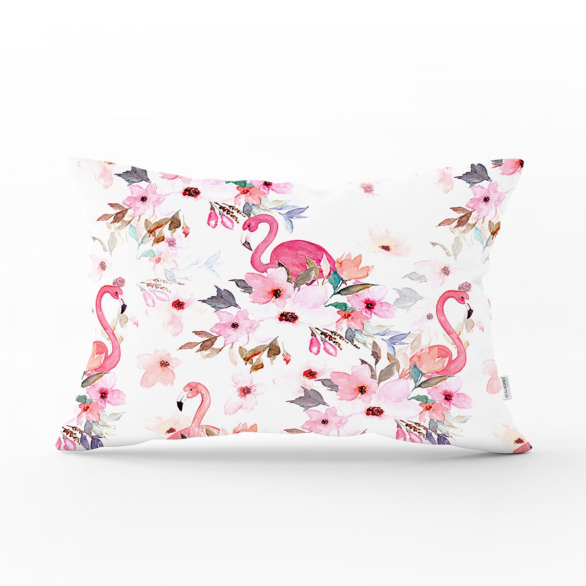 Flamingo Desenli Dijital Baskılı Dikdörtgen Yastık Kırlent Kılıfı Realhomes