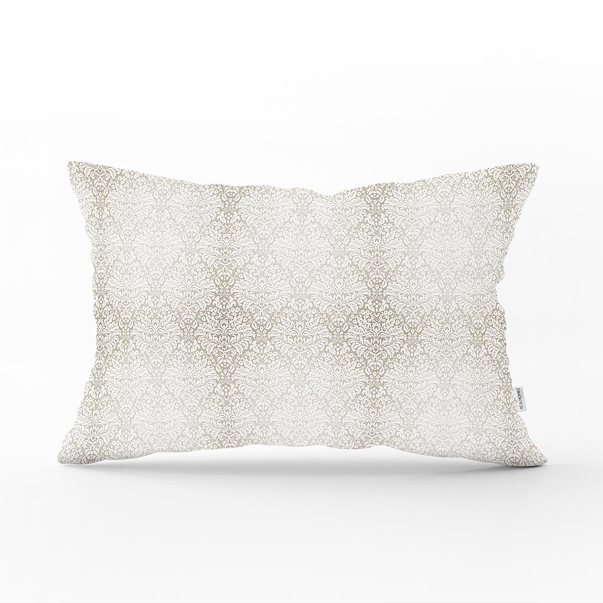 Gümüş Renk Damask Desenli Modern Dikdörtgen Yastık Kırlent Kılıfı Realhomes
