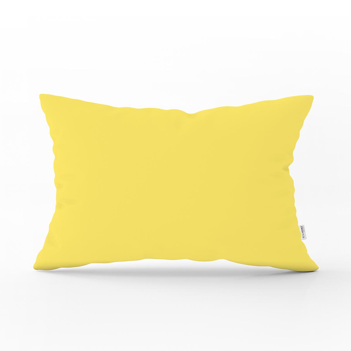 Sarı Düz Renkli Realhomes Özel Tasarım Dijital Baskılı Dikdörtgen Yastık Kırlent Kılıfı Realhomes