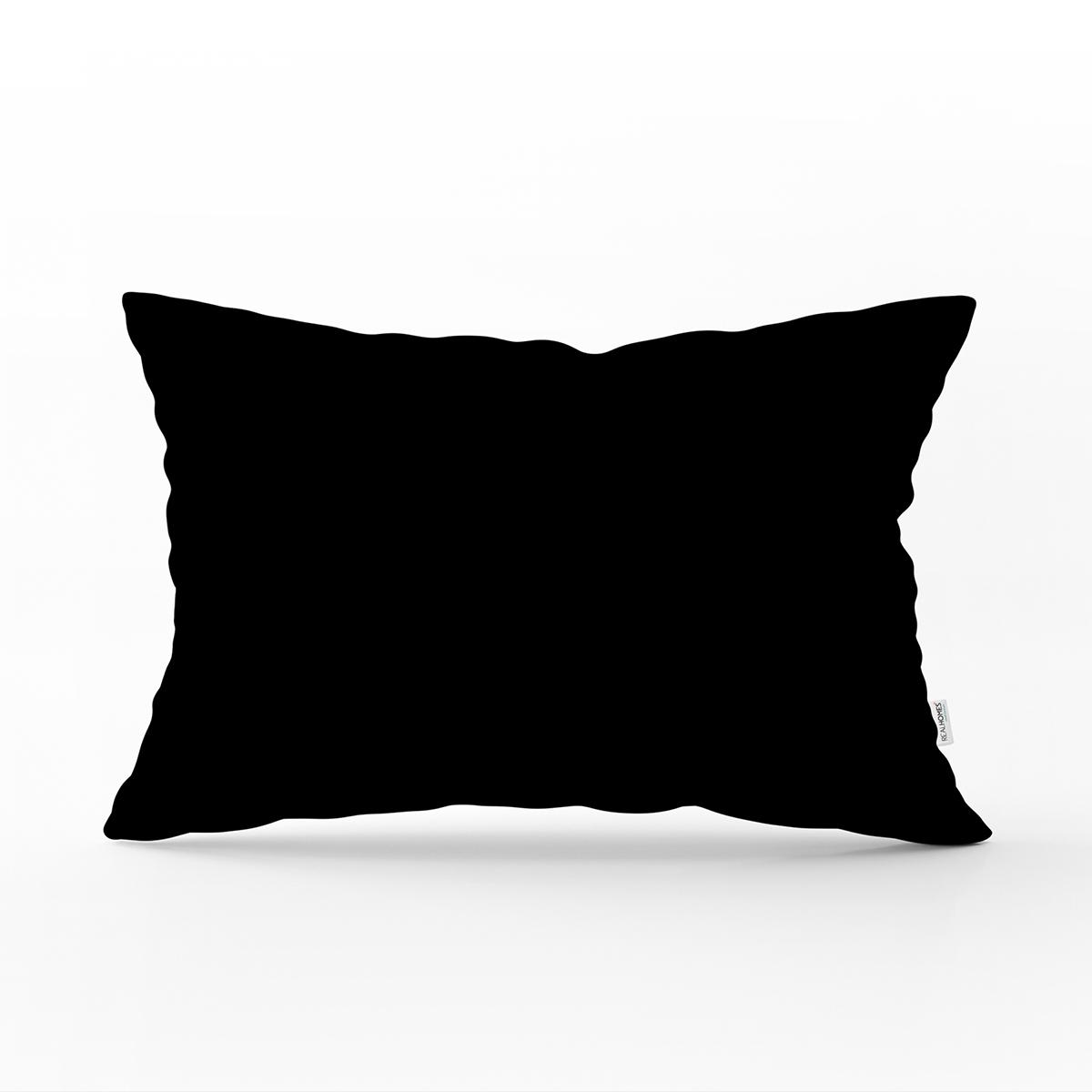 Siyah Renkli Özel Tasarım Dijital Baskılı Modern Dikdörtgen Yastık Kırlent Kılıfı Realhomes
