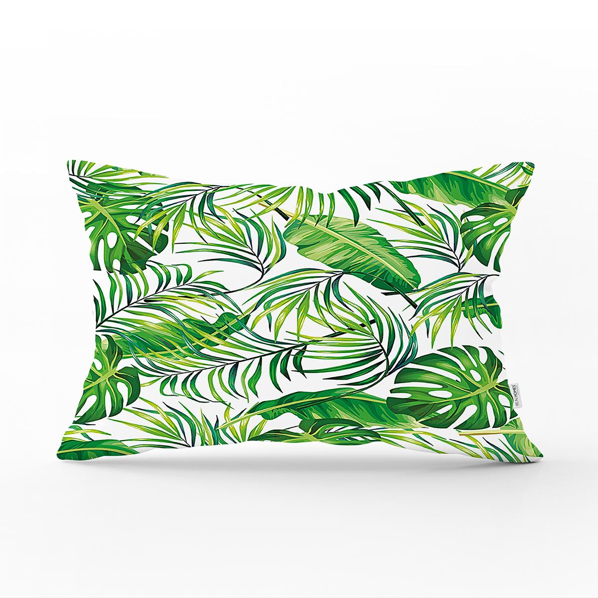 Beyaz Zeminde Yeşil Yapraklar Tasarımlı Modern Dikdörtgen Yastık Kırlent Kılıfı Realhomes