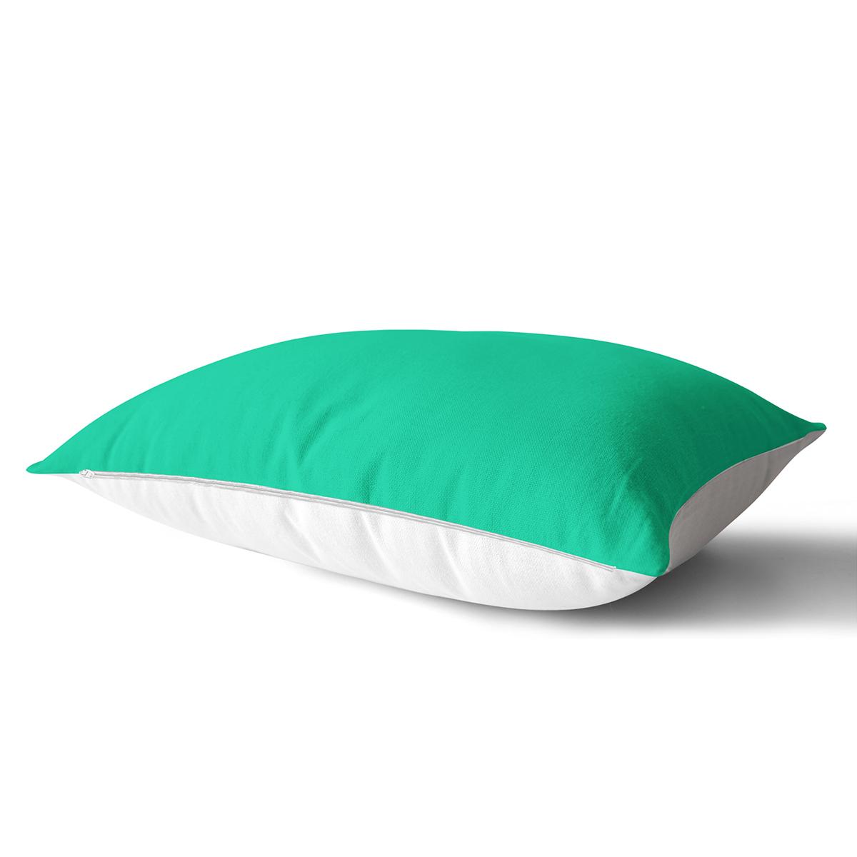 Yeşil Renkli Dijital Baskılı Özel Tasarım Modern Dikdörtgen Yastık Kırlent Kılıfı Realhomes