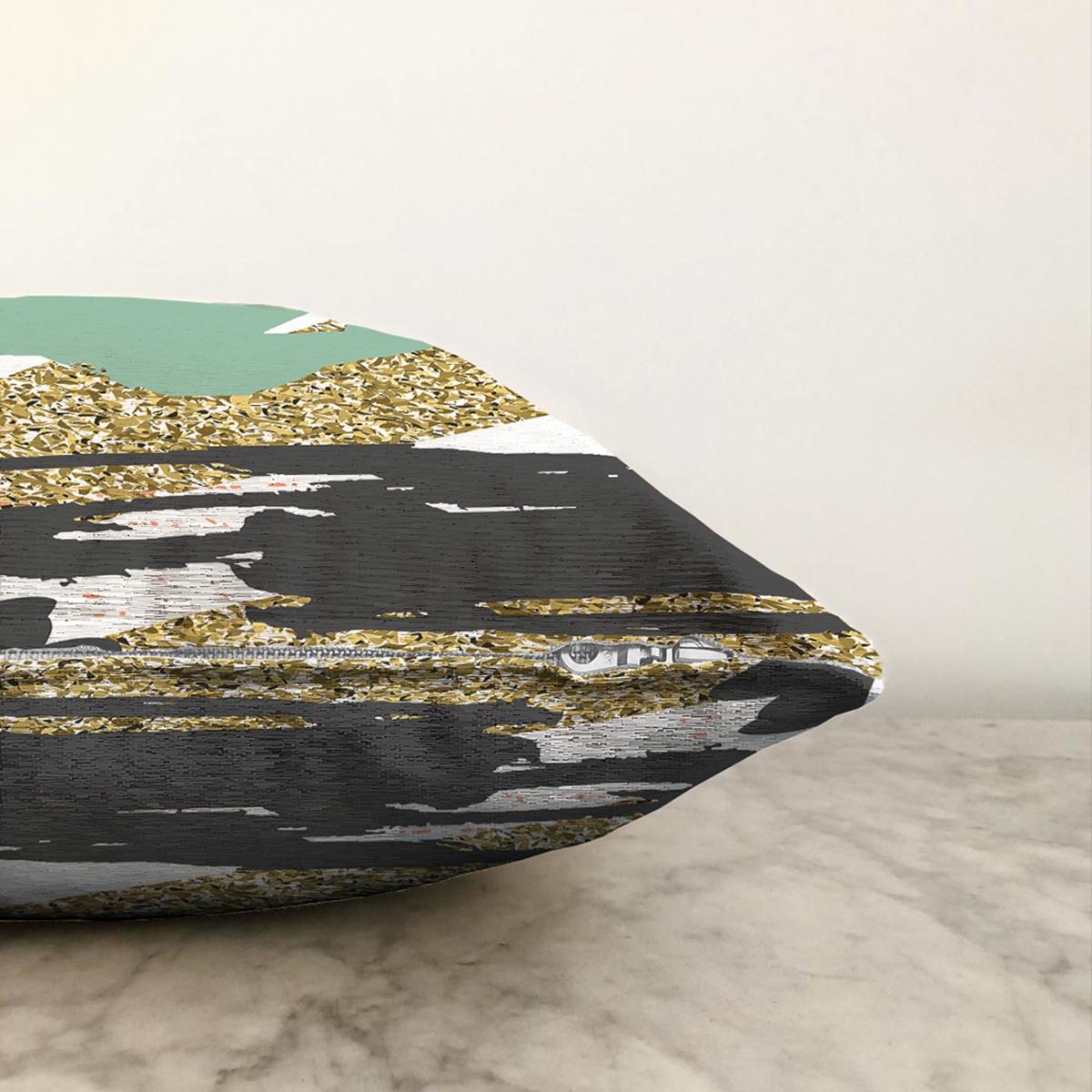 Çift Taraflı Gold Detaylı Modern Motifler Dijital Baskılı Modern Şönil Yastık Kırlent Kılıfı Realhomes