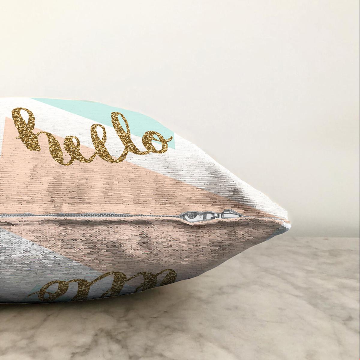 Çift Taraflı Gold Hello Yazılı Modern Motifler Dijital Baskılı Modern Şönil Yastık Kırlent Kılıfı Realhomes