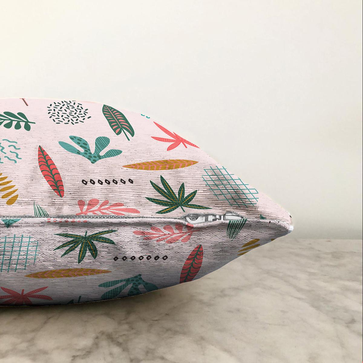 Çift Taraflı Renkli Amazon Yapraklı Motifler Dijital Baskılı Modern Şönil Yastık Kırlent Kılıfı Realhomes
