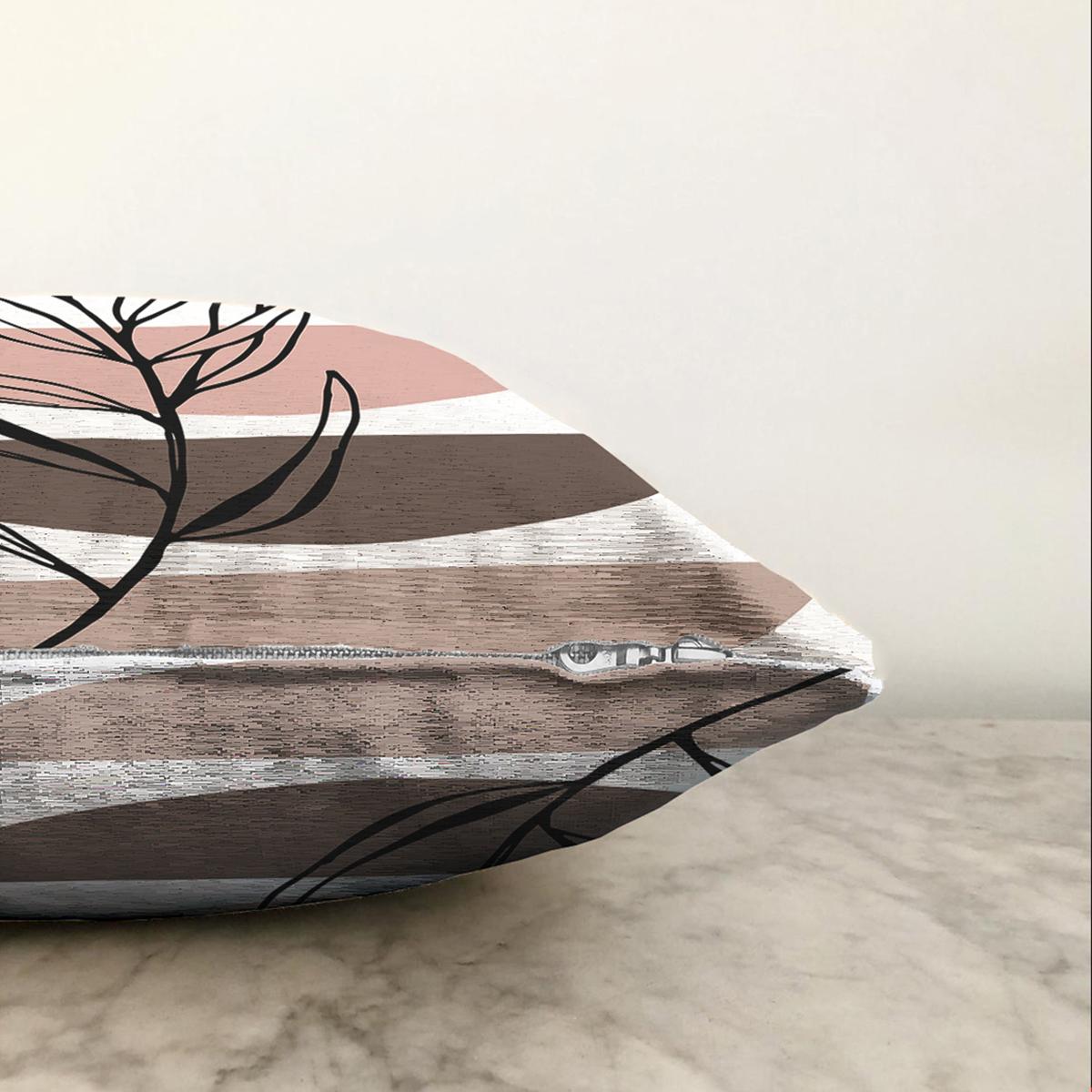 Çift Taraflı Onedraw Motifli Çiçek Dijital Baskılı Modern Şönil Yastık Kırlent Kılıfı Realhomes