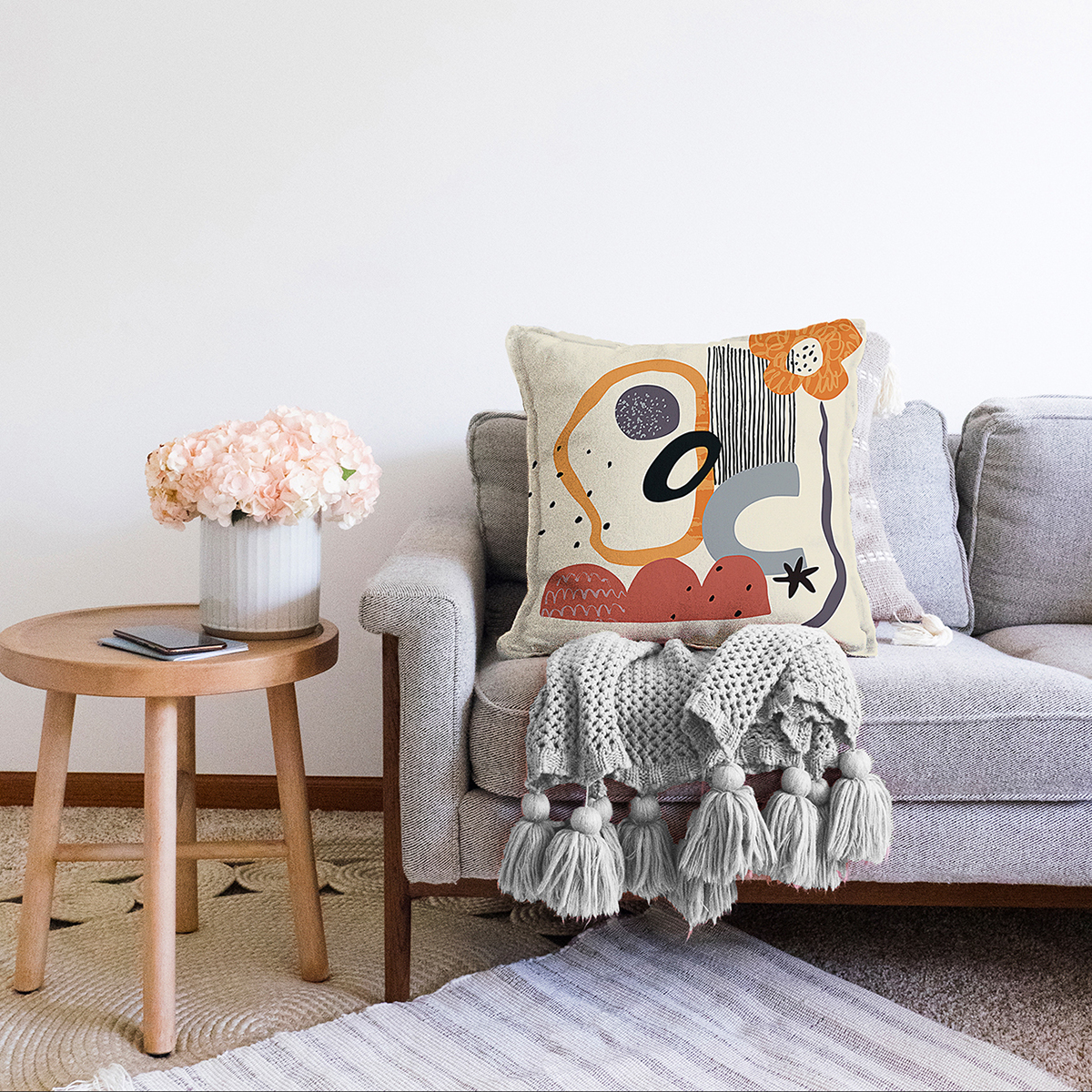 Çift Taraflı Sanatsal Motifli Çiçek Detaylı Dijital Baskılı Modern Şönil Yastık Kırlent Kılıfı Realhomes
