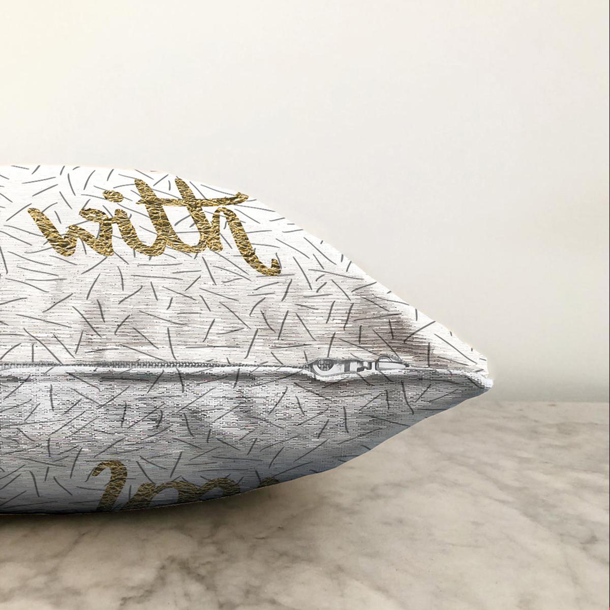 Çift Taraflı Beyaz Zeminli Gold Renkli With Yazılı Dijital Baskılı Modern Şönil Yastık Kırlent Kılıfı Realhomes