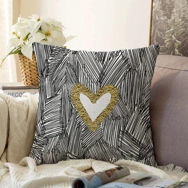 Çift Taraflı Siyah Onedraw Çizimli Gold Renkli Kalp Desenli Modern Şönil Yastık Kırlent Kılıfı Realhomes