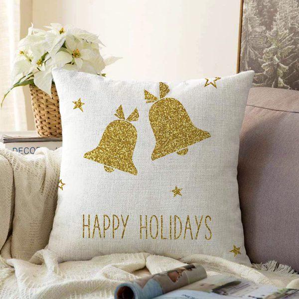 Çift Taraflı Beyaz Zeminde Gold Renkli Çan Desenli Dijital Baskılı Modern Şönil Yastık Kırlent Kılıfı Realhomes