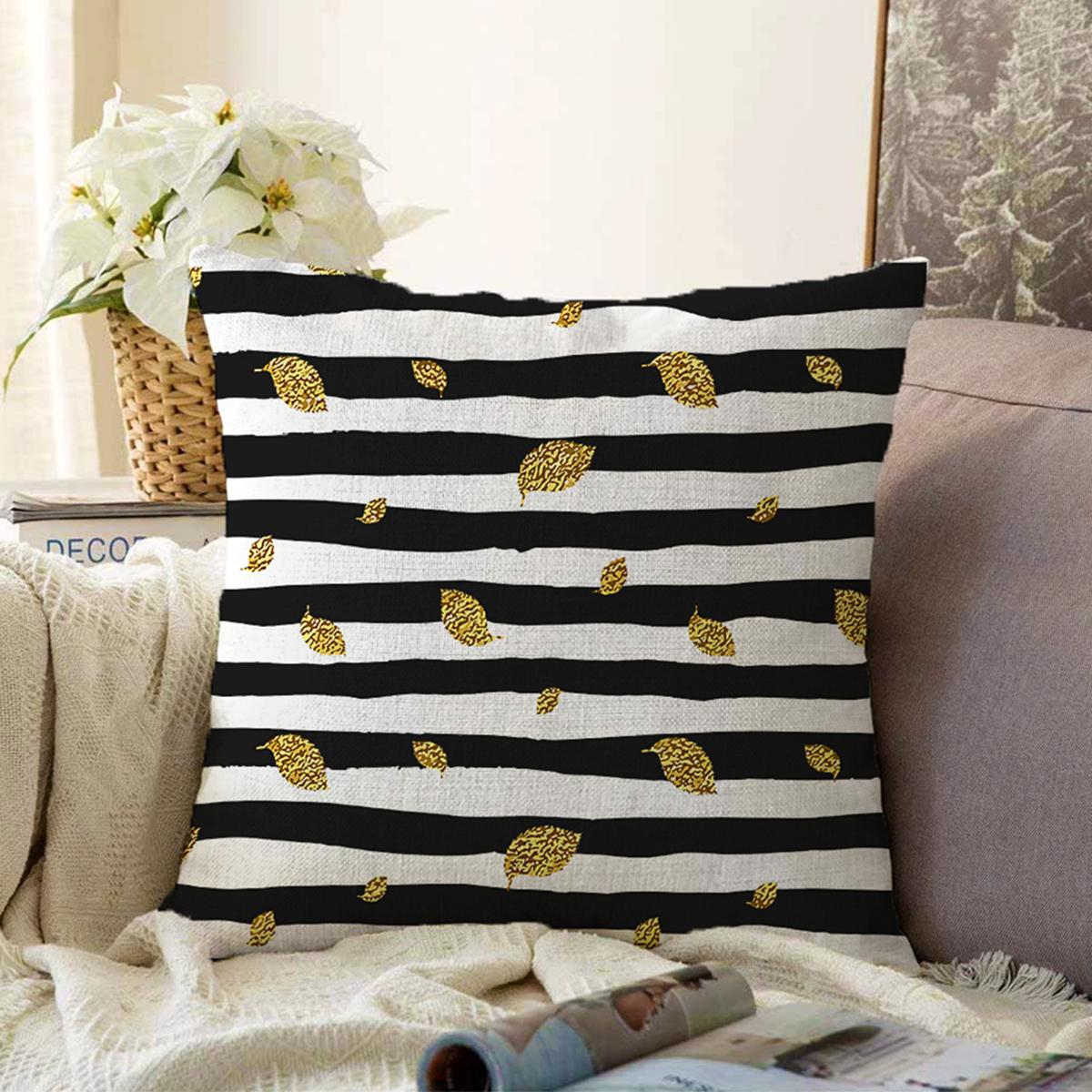 Çift Taraflı Siyah Beyaz Zeminli Gold Yaprak Desenli Dijital Baskılı Modern Şönil Yastık Kılıfı Realhomes