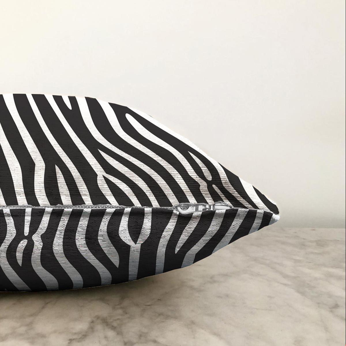 Çift Taraflı Beyaz Zeminli Siyah Çizgi Desenli Dijital Baskılı Modern Şönil Yastık Kırlent Kılıfı Realhomes