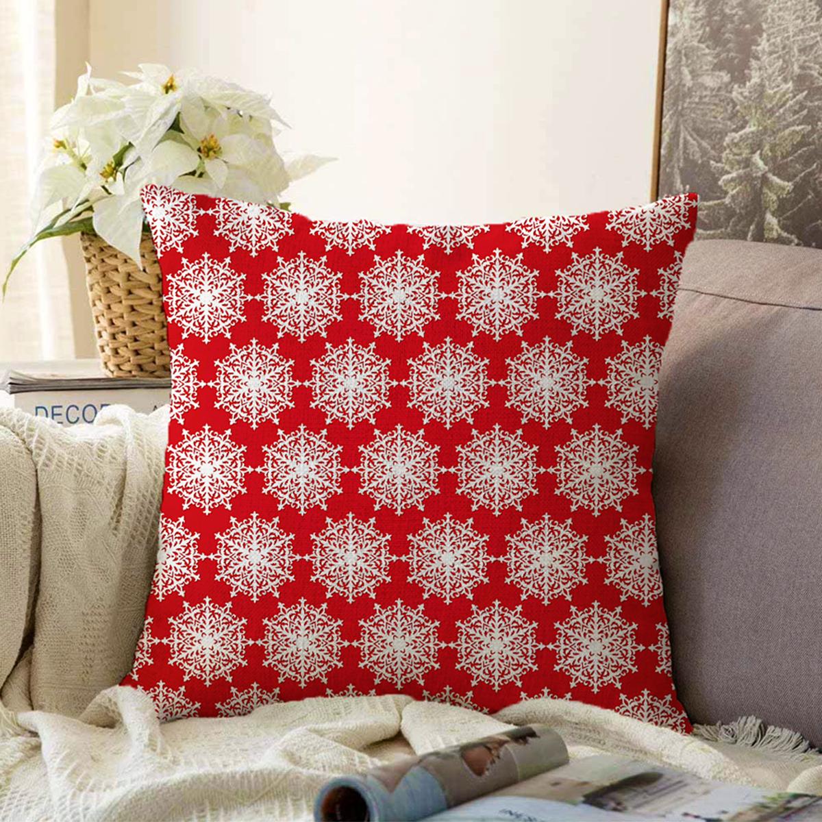 Çift Taraflı Kırmızı Zemin Üzerinde Beyaz Kartanesi Desenli Modern Şönil Yastık Kırlent Kılıfı Realhomes