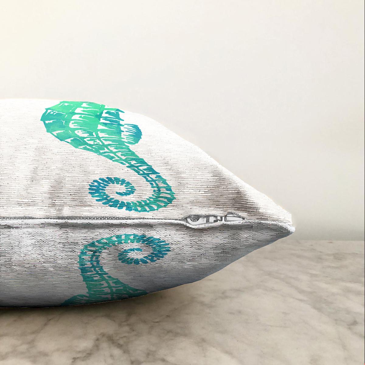 Çift Taraflı Beyaz Zeminde Yeşil Renkli Deniz Atı Desenli Dijital Baskılı Modern Şönil Kırlent Kılıfı Realhomes