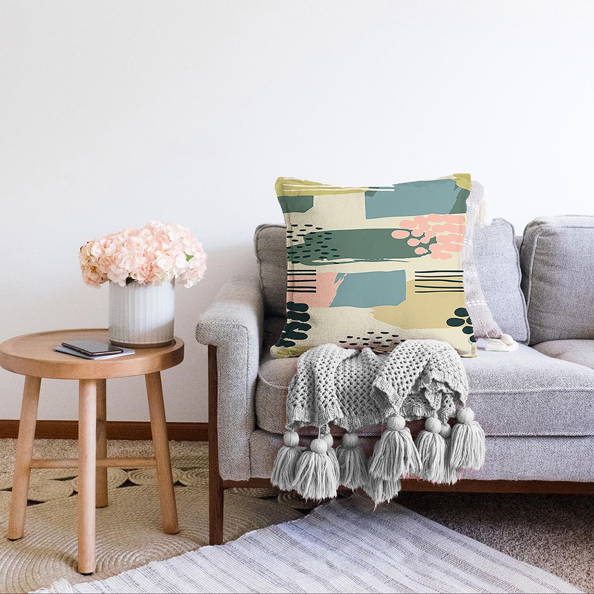 Çift Taraflı Renkli Zemin Üzerinde Soft Çizimli Dijital Baskılı Modern Şönil Yastık Kırlent Kılıfı Realhomes