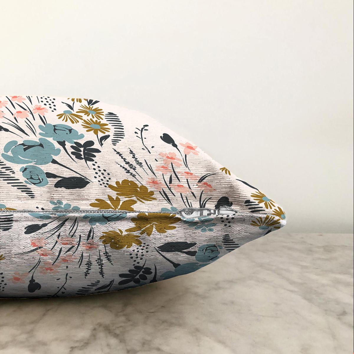 Çift Taraflı Beyaz Zeminde Renkli Çiçek Desenli Dijital Baskılı Modern Şönil Yastık Kırlent Kılıfı Realhomes