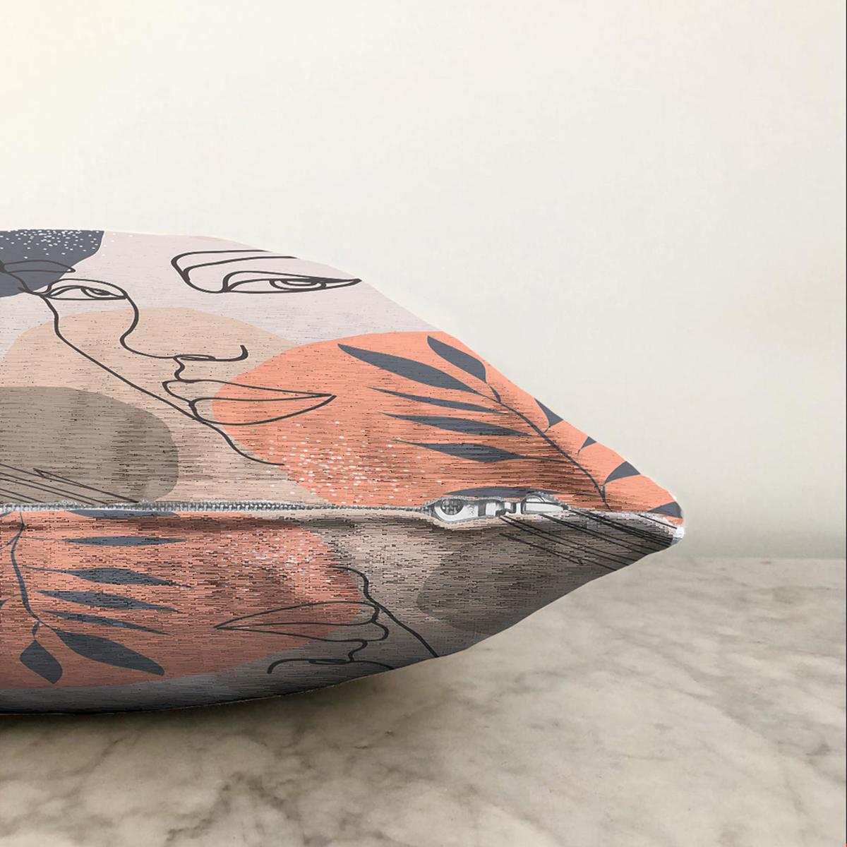 Çift Taraflı Beyaz Zeminde Onedraw Çizimli Bayan Silüeti Dijital Baskılı Modern Şönil Kırlent Kılıfı Realhomes