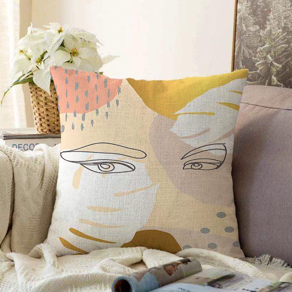Çift Taraflı Soft Renkli Zeminli Bayan Silüeti Dijital Baskılı Modern Şönil Yastık Kırlent Kılıfı Realhomes