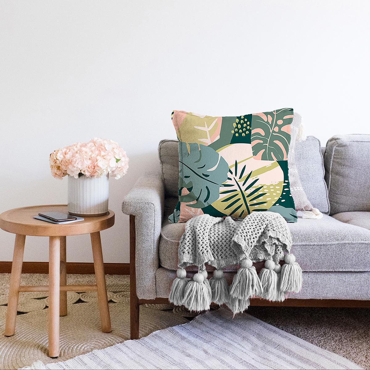 Çift Taraflı Renkli Zemin Üzerinde Soyut Çizimli Yaprak Motifli Modern Şönil Yastık Kırlent Kılıfı Realhomes
