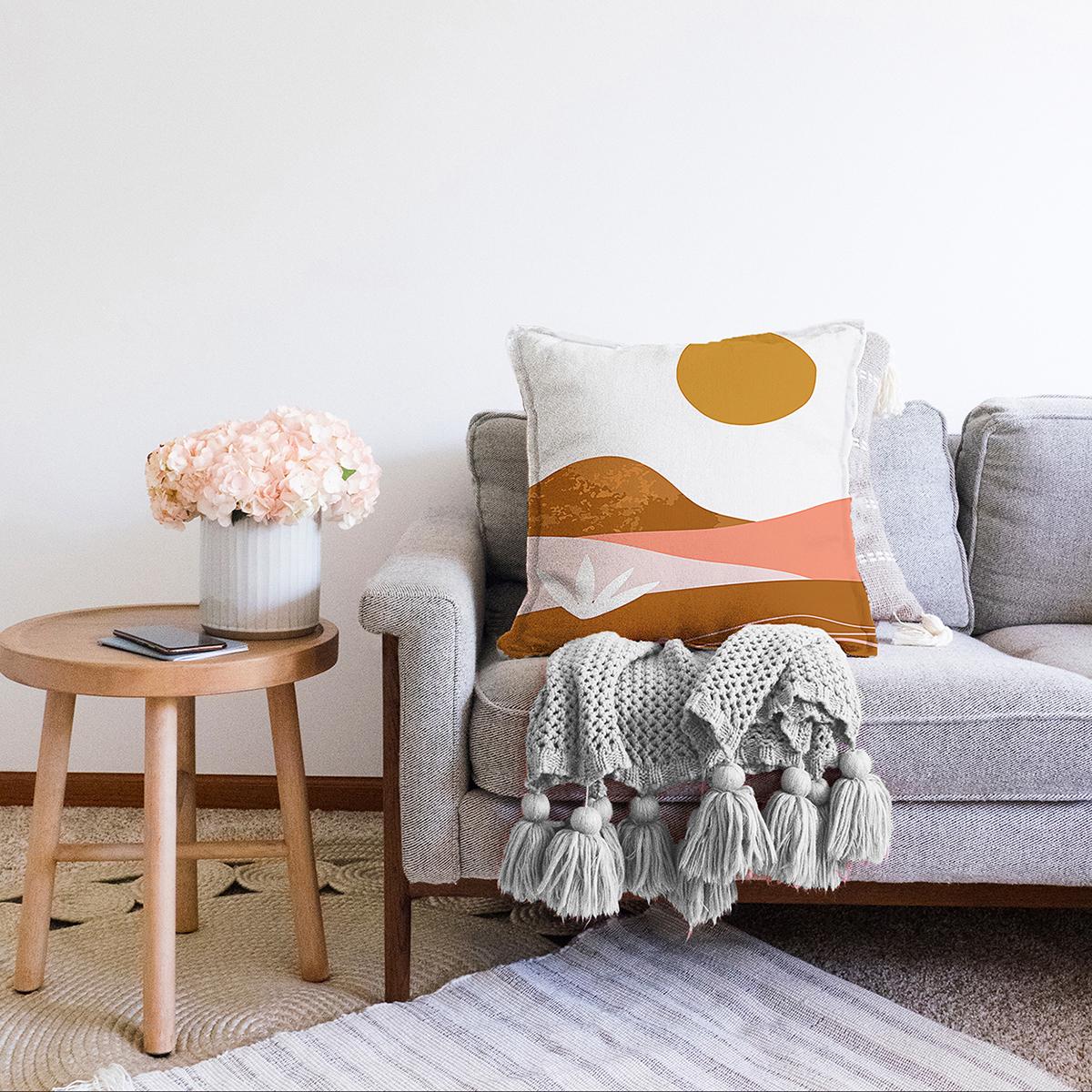 Çift Taraflı Pastel Renkli Zeminli Onedraw Çizimli Dijital Baskılı Modern Şönil Yastık Kırlent Kılıfı Realhomes