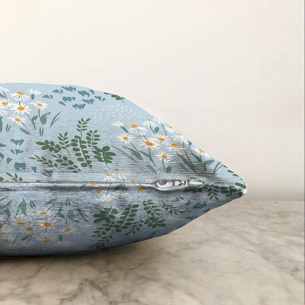 Çift Taraflı Renkli Zeminde Onedraw Çizimli Çiçek Desenli Dijital Baskılı Modern Şönil Kırlent Kılıfı Realhomes
