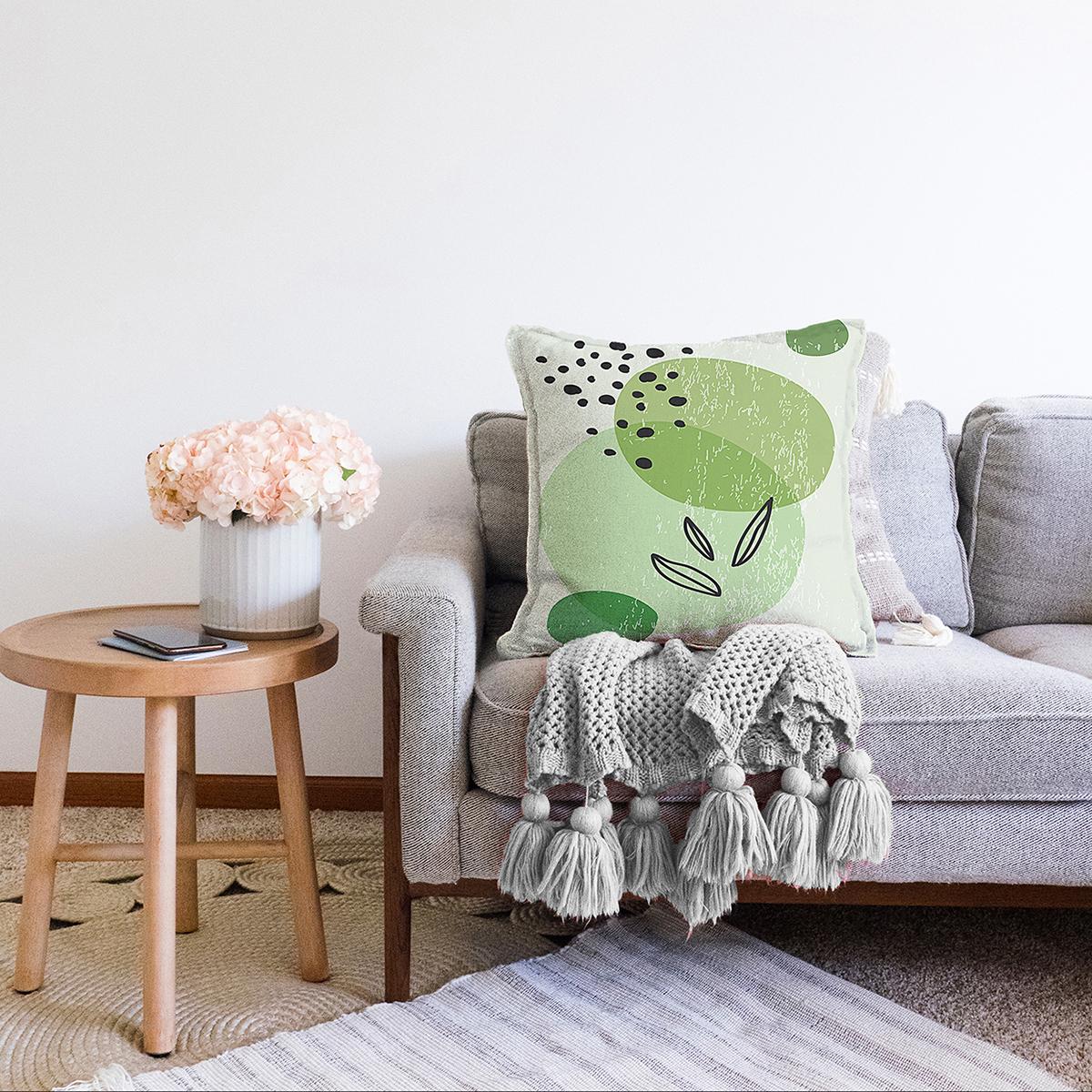 Çift Taraflı Renkli Zeminde Yaprak Motifli Dijital Baskılı Modern Şönil Yastık Kırlent Kılıfı Realhomes