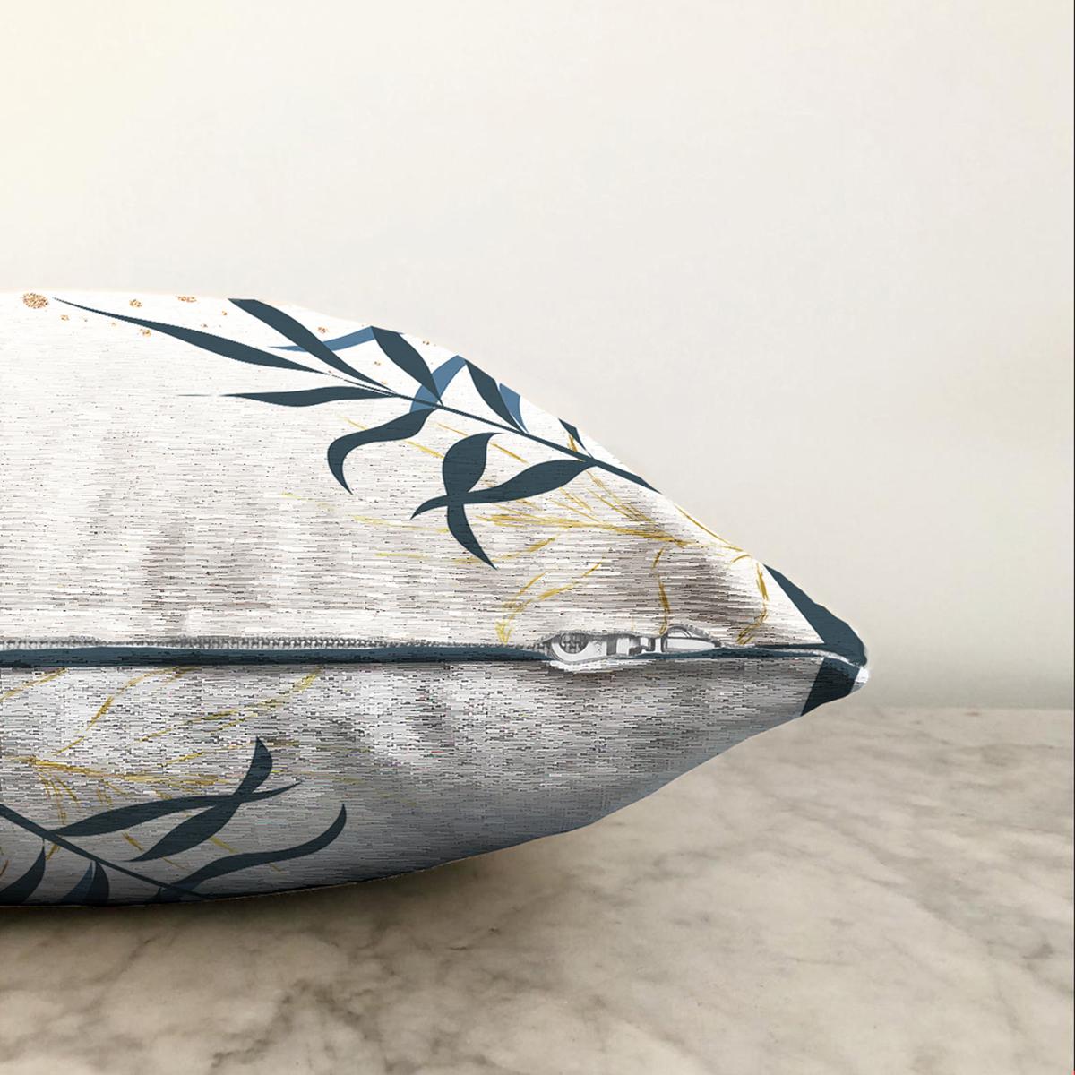 Çift Taraflı Beyaz Zeminde Renkli Yaprak Desenli Dijital Baskılı Modern Şönil Yastık Kırlent Kılıfı Realhomes