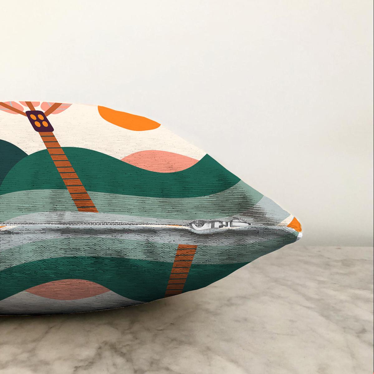 Çift Taraflı Renkli Zeminli Palmiye Desenli Dijital Baskılı Modern Şönil Yastık Kırlent Kılıfı Realhomes