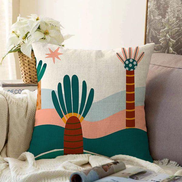 Çift Taraflı Renkli Zeminli Yaprak Desenli Dijital Baskılı Modern Şönil Yastık Kırlent Kılıfı Realhomes