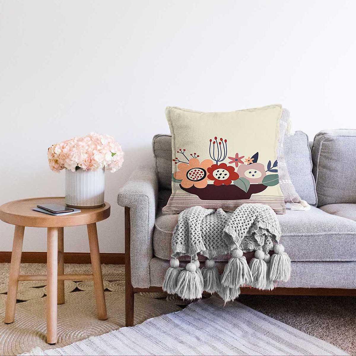 Çift Taraflı Renkli Zeminli Onedraw Çizimli Çiçek Desenli Dijital Baskılı Modern Şönil Kırlent Kılıfı Realhomes