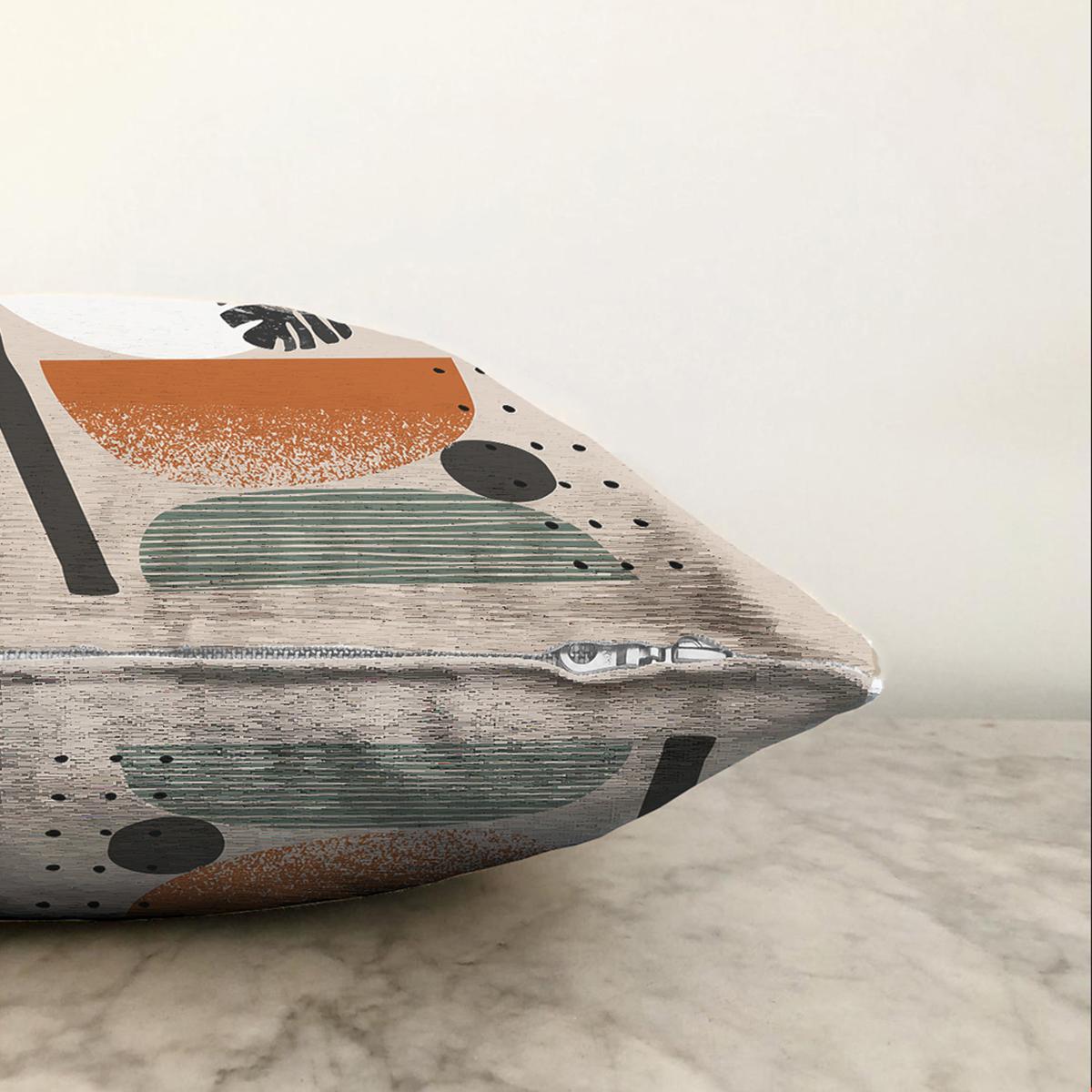 Çift Taraflı Pastel Renkli Onedraw Çizimli Geometrik Desenli Modern Şönil Yastık Kırlent Kılıfı Realhomes