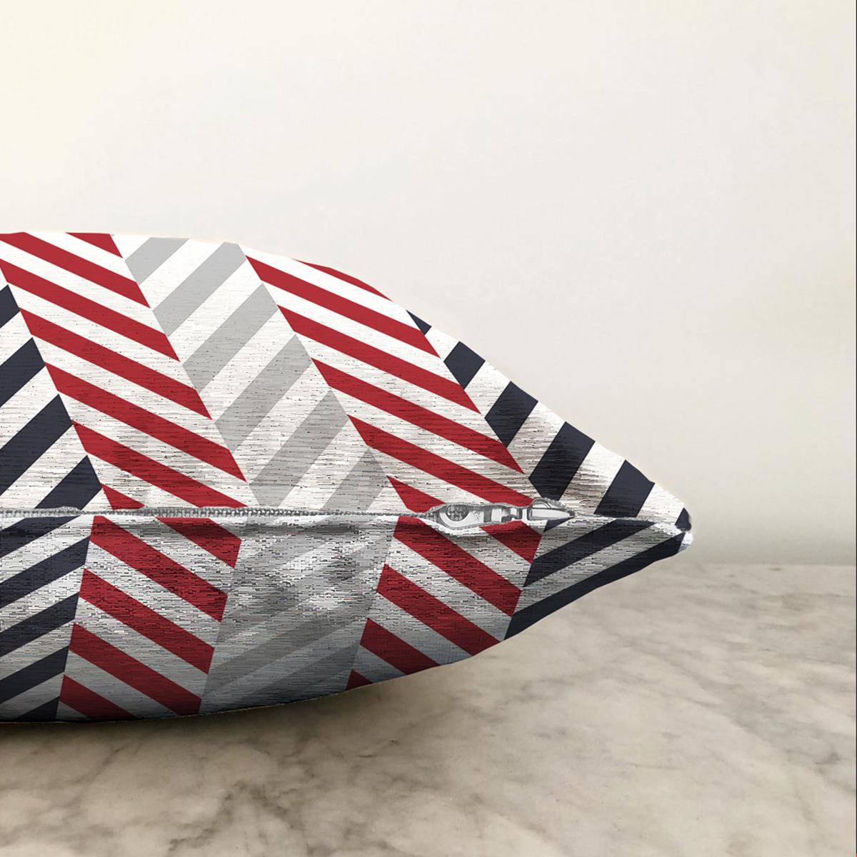 Çift Taraflı Beyaz Zemin Üzerinde Geometrik Çizimli Zigzag Desenli Şönil Yastık Kırlent Kılıfı Realhomes