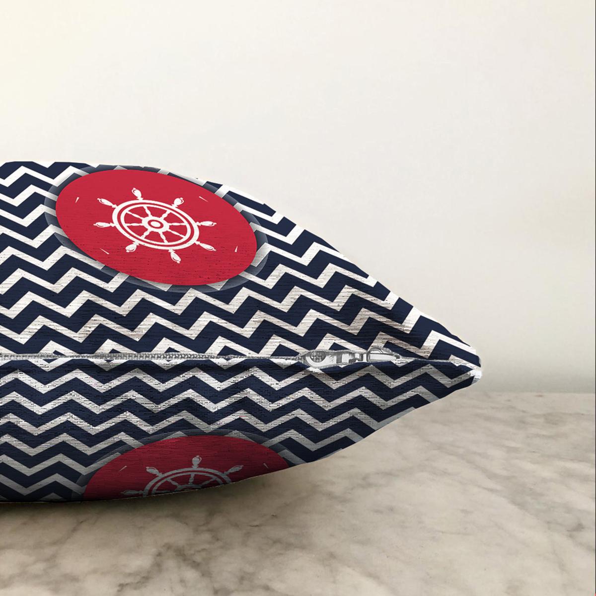 Çift Taraflı Renkli Zemin Üzerinde Geometrik Zigzag Desenli Çapa Şönil Yastık Kırlent Kılıfı Realhomes