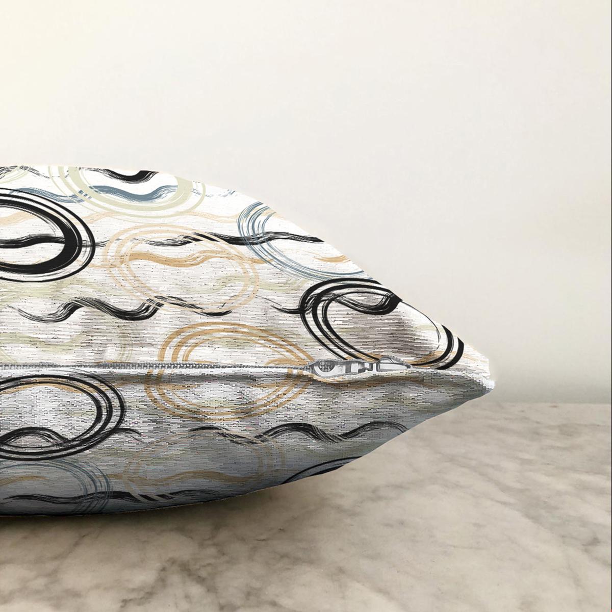 Çift Taraflı Beyaz Zemin Üzerinde Renkli Geometrik Şekilli Dijital Baskılı Modern Şönil Yastık Kılıfı Realhomes
