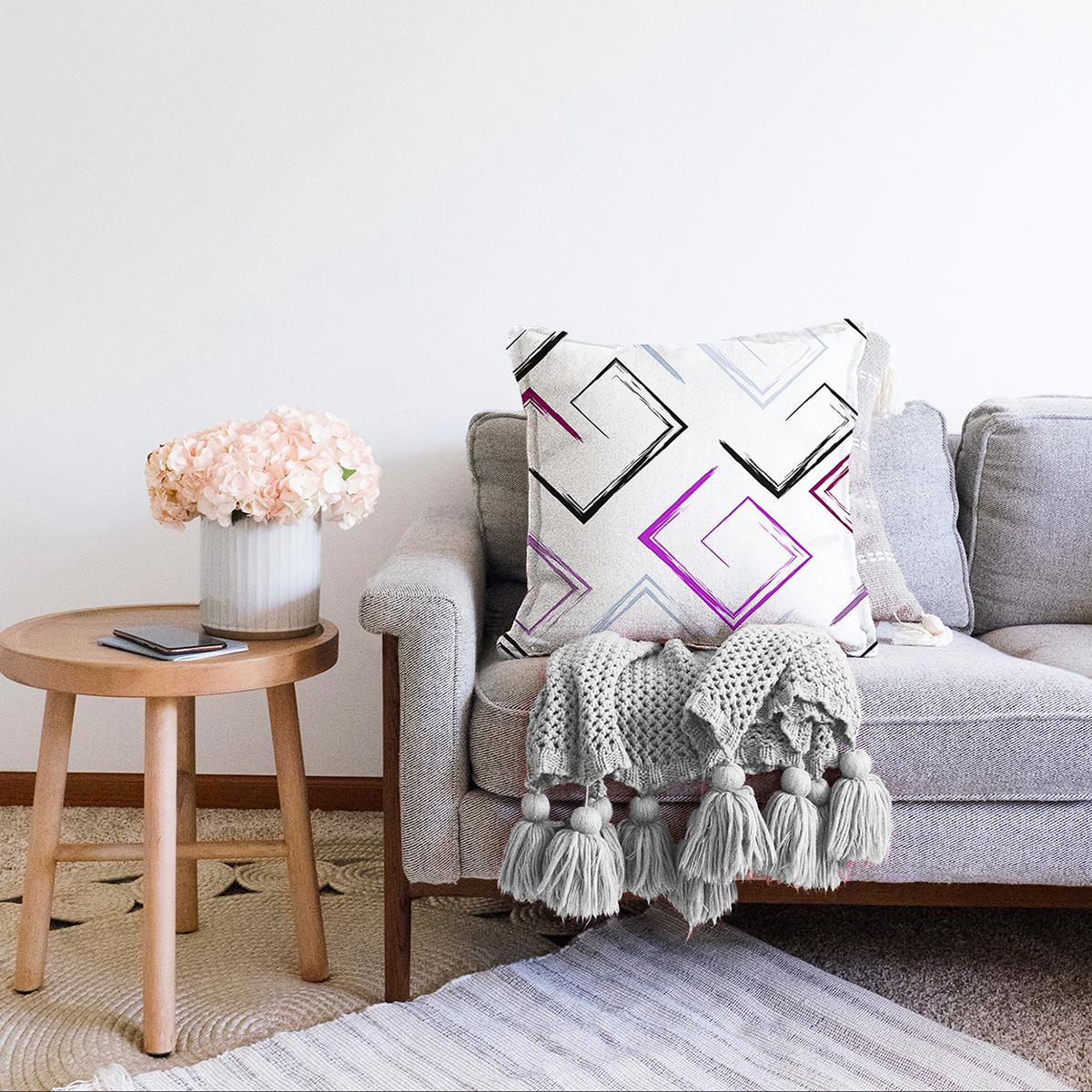 Çift Taraflı Beyaz Zeminli Renkli Modern Desenli Dijital Baskılı Modern Şönil Yastık Kırlent Kılıfı Realhomes