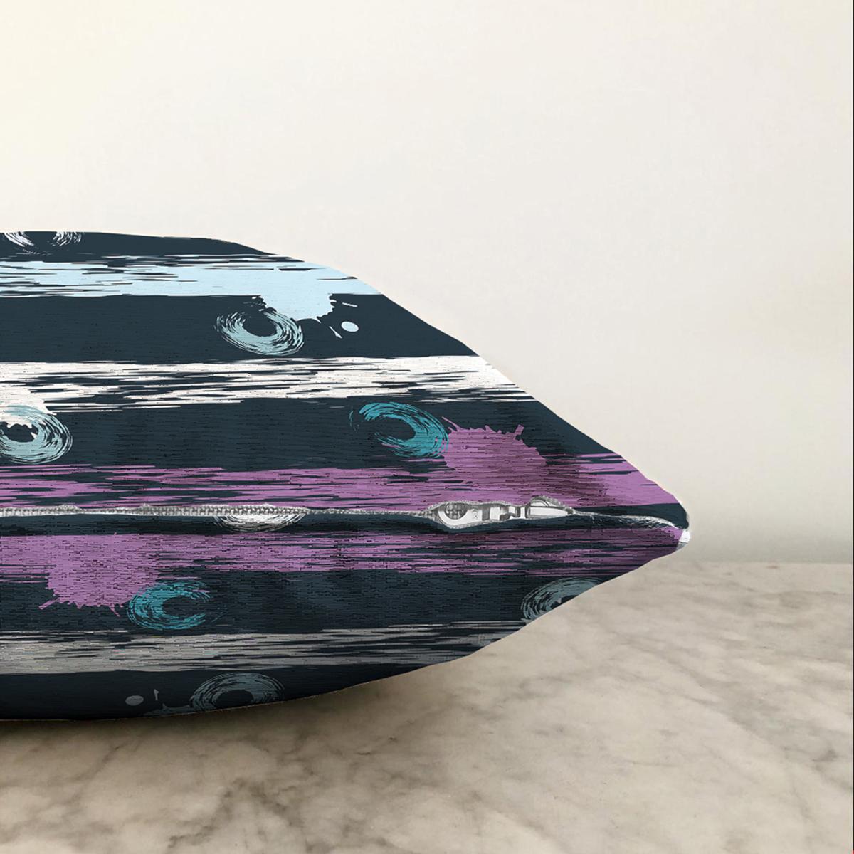 Çift Taraflı Siyah Zemin Üzerinde Modern Çizgili Renkli Puantiyeli Şönil Yastık Kırlent Kılıfı Realhomes