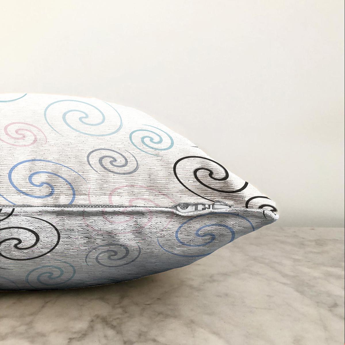 Çift Taraflı Beyaz Zemin Üzerinde Renkli Desenli Dijital Baskılı Modern Şönil Yastık Kırlent Kılıfı Realhomes