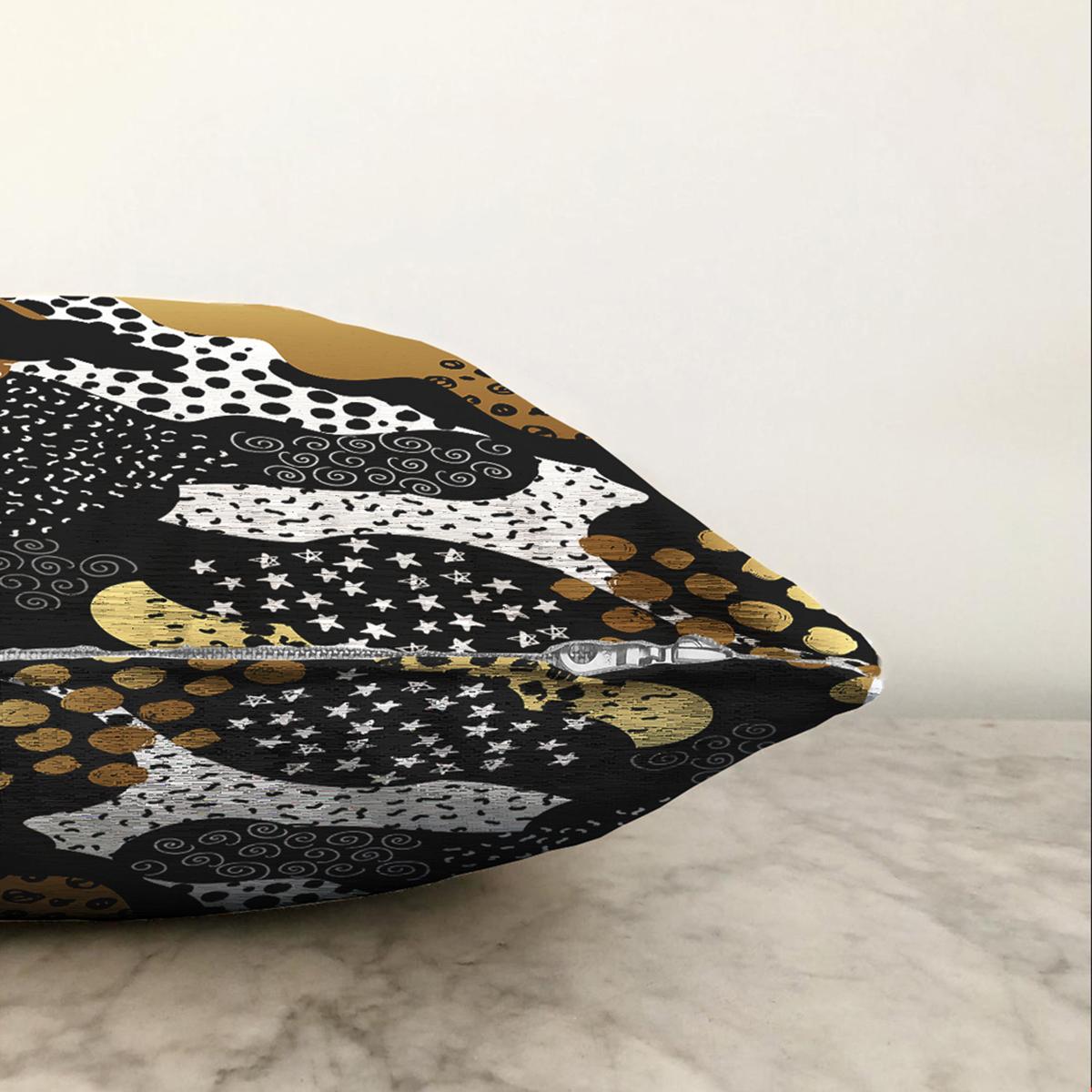 Çift Taraflı Siyah Zemin Üzerinde Gold Detaylı Modern Desenli Modern Şönil Yastık Kırlent Kılıfı Realhomes