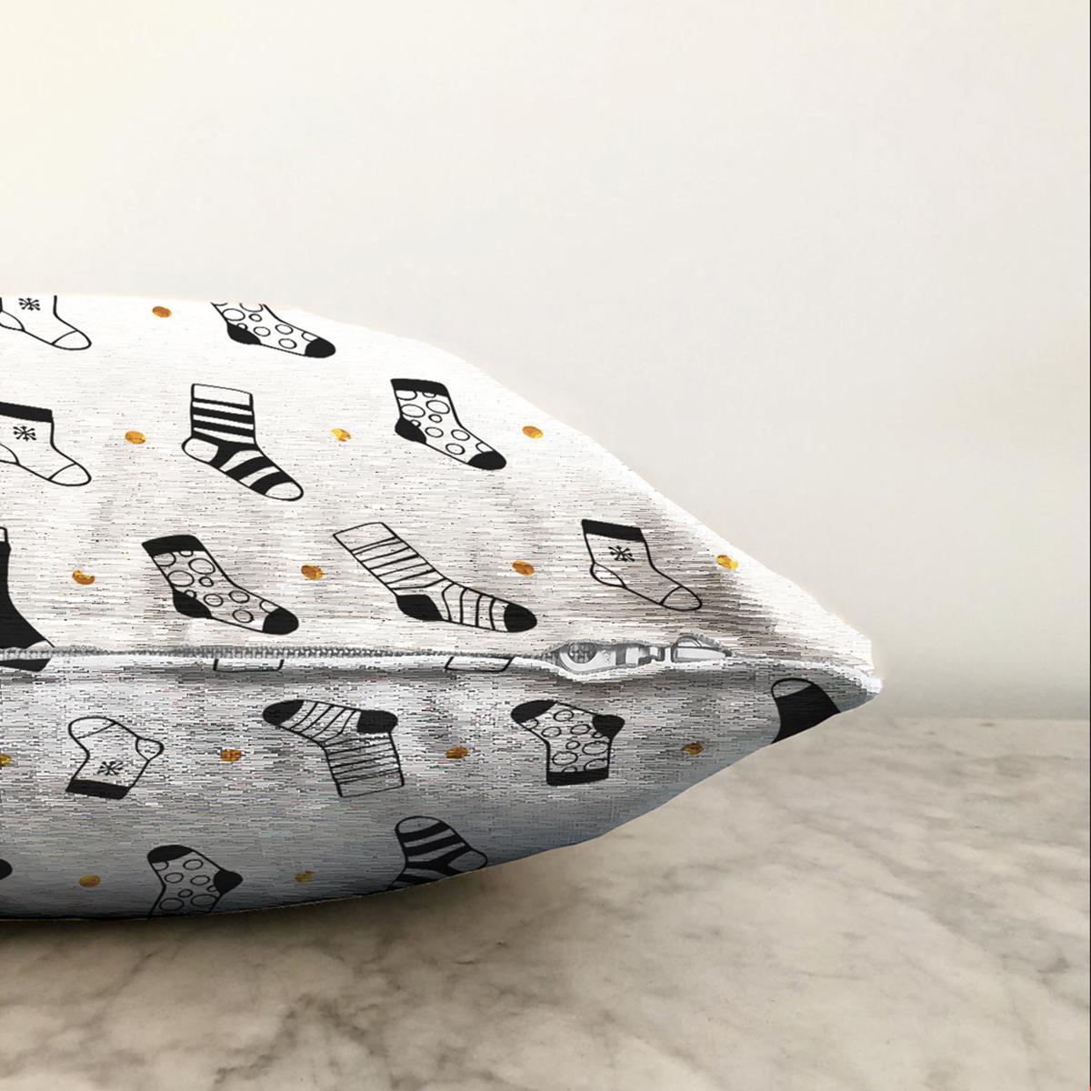 Çift Taraflı Beyaz Zemin Üzerinde Modern Çorap Desenli Şönil Yastık Kırlent Kılıfı Realhomes