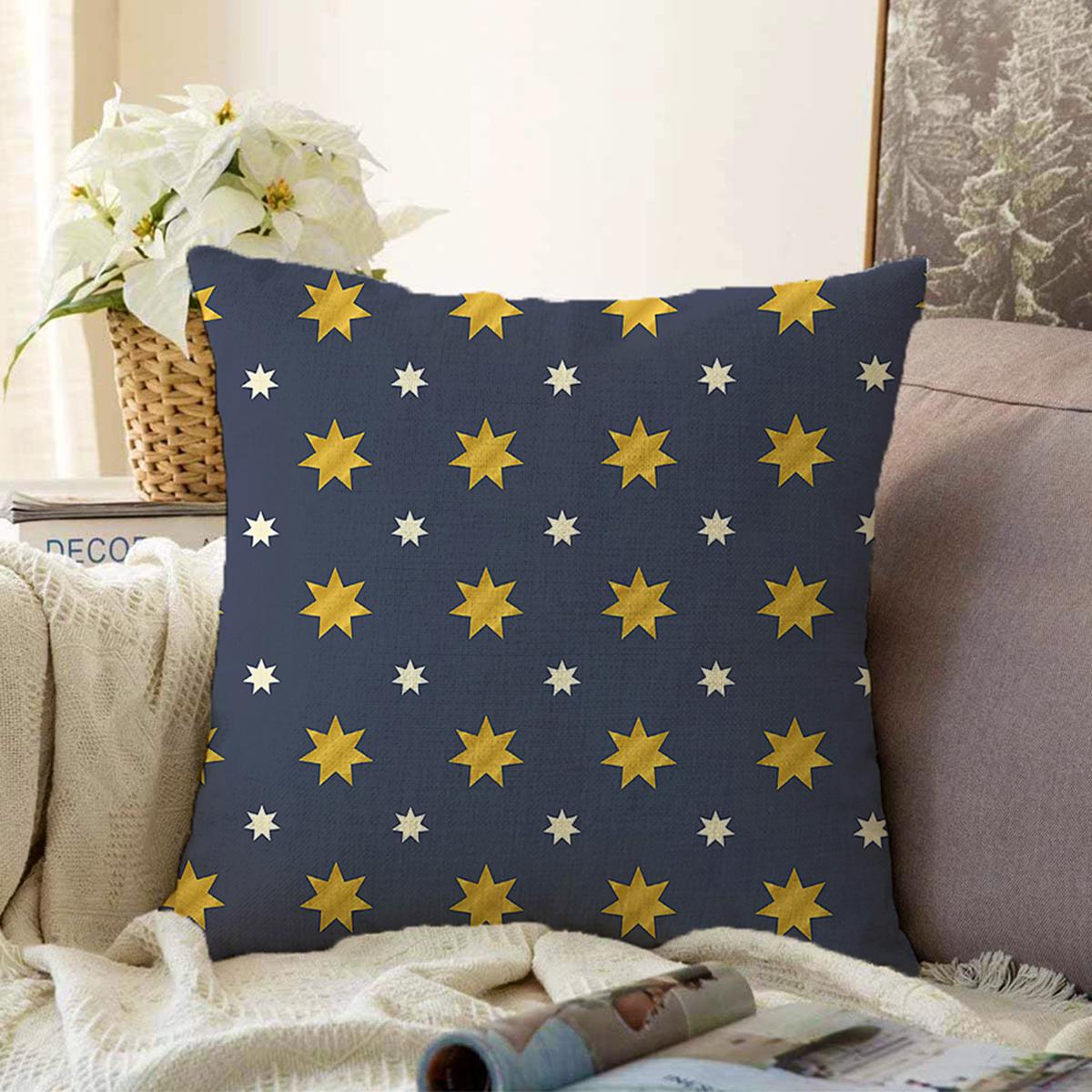 Çift Taraflı Renkli Zemin Üzerinde Gold Detaylı Yıldız Desenli Modern Şönil Yastık Kırlent Kılıfı Realhomes