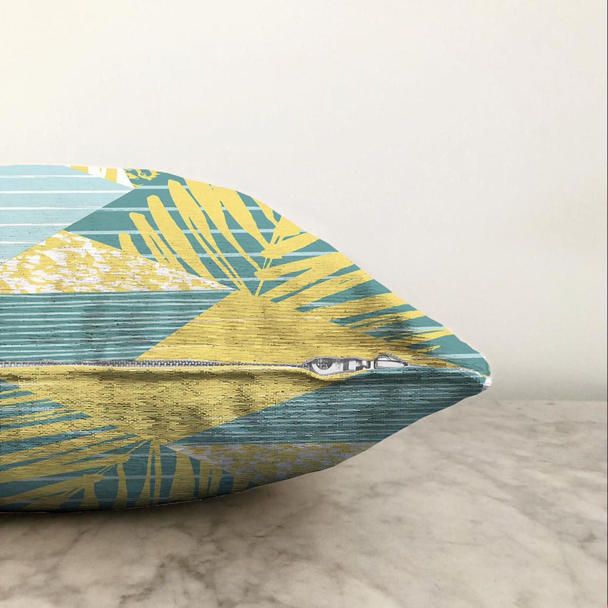 Çift Taraflı Renkli Zemin Üzerinde Geometrik Desenli Yaprak Motifli Şönil Yastık Kırlent Kılıfı Realhomes