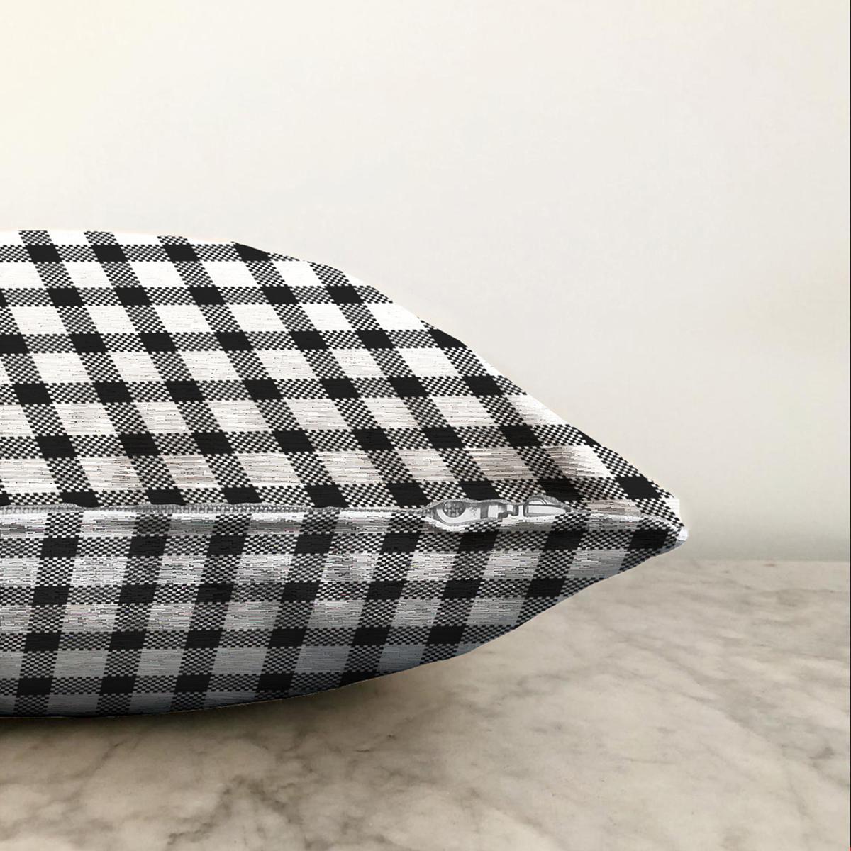 Çift Taraflı Beyaz Zeminli Siyah Ekose Desenli Dijital Baskılı Modern Şönil Yastık Kırlent Kılıfı Realhomes