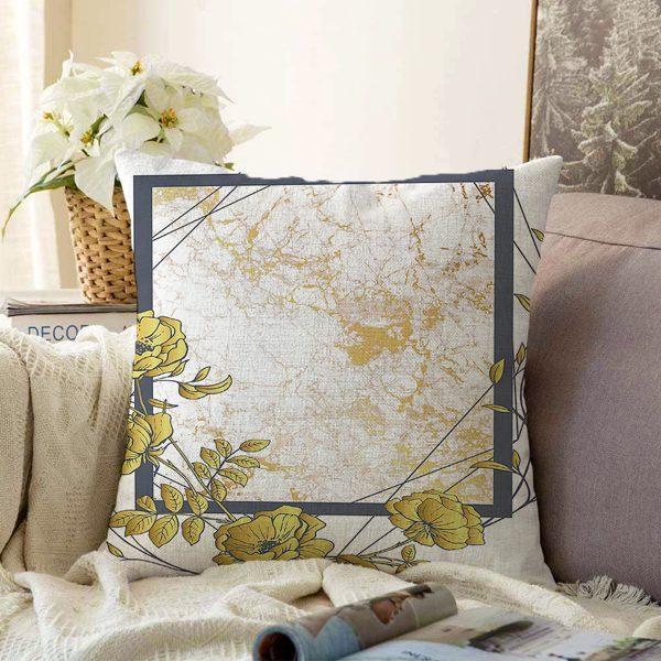 Çift Taraflı Pastel Zemin Üzerinde Gold Detaylı Yaprak Desenli Modern Şönil Yastık Kırlent Kılıfı Realhomes