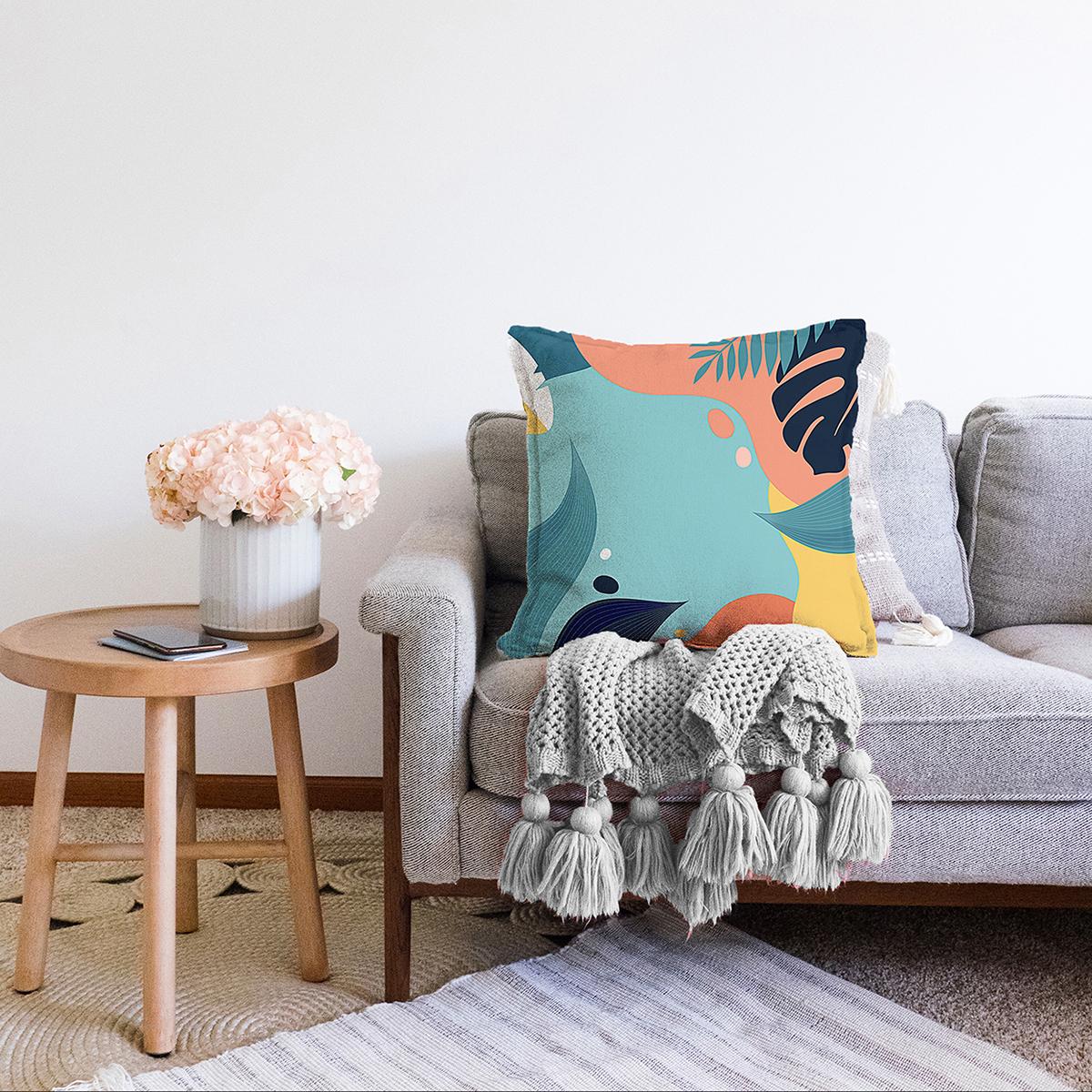 Çift Taraflı Renkli Zeminli Pastel Yaprak Desenli Dijital Baskılı Modern Şönil Yastık Kırlent Kılıfı Realhomes