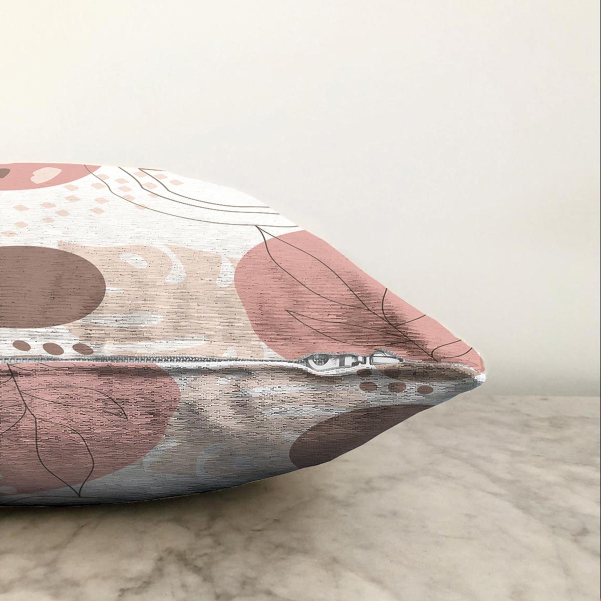 Çift Taraflı Beyaz Zemin Üzerinde Pastel Renkli Yaprak Desenli Modern Şönil Yastık Kırlent Kılıfı Realhomes